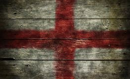 Flag of england. On old wooden planks Royalty Free Stock Photos