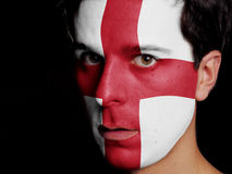 Flag of England. Painted on a Face of a Young Man Royalty Free Stock Image