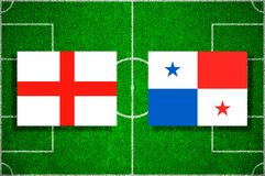 Flag England - Panama on the football field. Football match royalty free stock image