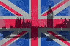 The flag of England. And the parliament building vector illustration