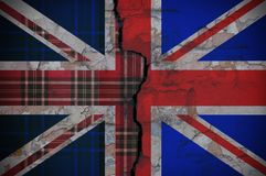 Flag of England with the texture of Scotland. Close up stock image