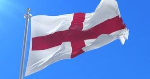 English flag waving at wind in blue sky, loop. Flag of England waving at wind in blue sky, loop stock footage