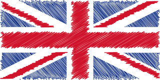 Flag of English pencil drawing vector illustration. Union Jack. Using for decoration works Royalty Free Stock Images