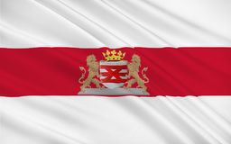 Flag of Enschede, Netherlands. Flag of Enschede also known as Eanske in the local dialect of Twents, is a municipality and a city in the eastern Netherlands in Royalty Free Illustration