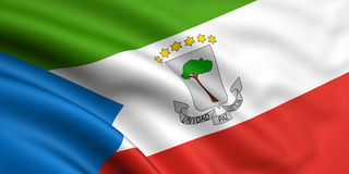 Flag Of Equatorial Guinea. 3d rendered and waving flag of equatorial guinea stock photos