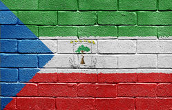 Flag of Equatorial Guinea on brick wall Royalty Free Stock Images