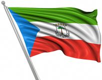 Flag of Equatorial Guinea. This is a computer generated and 3d rendered image stock illustration