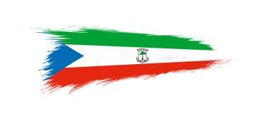Flag of Equatorial Guinea in grunge brush stroke. Vector grunge illustration vector illustration