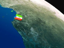 Flag of Equatorial Guinea from space Royalty Free Stock Images
