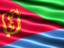 Flag of Eritrea. Computer generated illustration with silky appearance and waves Royalty Free Stock Photography