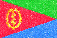 Flag of Eritrea background o texture, color pencil effect. Royalty Free Stock Image