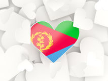 Flag of eritrea, heart shaped stickers. Background. 3D illustration Royalty Free Stock Images