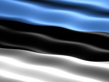 Flag of Estonia. Computer generated illustration of the flag of Estonia with silky appearance and waves royalty free illustration