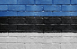 Flag of Estonia on brick wall Stock Photography