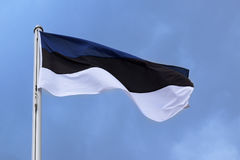 Flag of Estonia with stripes in blue, black, white, national symbol Stock Photography