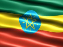 Flag of Ethiopia. Computer generated illustration with silky appearance and waves Royalty Free Stock Image