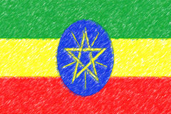 Flag of Ethiopia background o texture, color pencil effect. Stock Images
