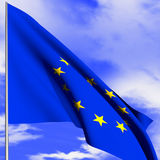 Flag EU. Flag of the European Union is flying in the sky Royalty Free Stock Photo