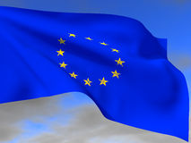 Flag EU. With the flag of the European Union are crumbling star Royalty Free Stock Photos