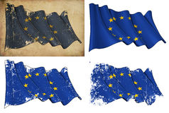 Flag of EU. Waving EU flag. 4 options for multiple uses 1) aged paper, 2) clean cut, 3) scratched surface and 4) under texture Stock Photos