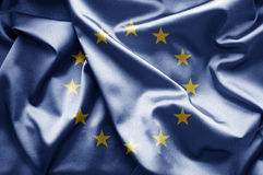 Flag of EU. World flags waving in the wind. Visualization includes fabric texture and unusual lighting of the flag (visible at 100 Stock Images