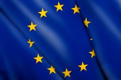 Flag of EU. This is an illustration of folded flag Royalty Free Stock Photos