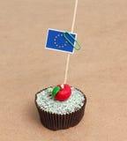 Flag of EU on cupcake Royalty Free Stock Image