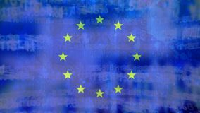 Flag of the EU and digital codes. Digital composite of flag of the EU with digital codes in the background stock video footage