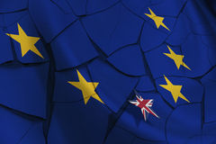Flag of EU and 12 gold (yellow) stars with a small UK star flag. Royalty Free Stock Image