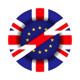 Flag EU and Great Britain and sign forbidden on white background. Isolated 3D illustration.  royalty free illustration
