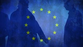 Flag of the EU and men walking. Animation of the flag of the EU in the background of men walking on the street stock video