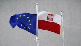 Flag of the EU and Poland Royalty Free Stock Images