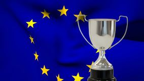 Flag of the EU and trophy