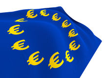 Flag of Euro-Currency. Euro currency flag isolated on white background with clipping path Stock Photo