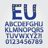 Flag of Europe Alphabet and Digit Vector Stock Photo