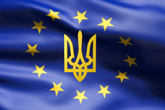 Flag of Europe with coat of arms of Ukraine. Inside Royalty Free Stock Image