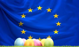 Flag of Europe with Easter eggs and green blades of grass 3D Ren. Flag of Europe with Easter eggs and green blades of grass 3D Stock Image