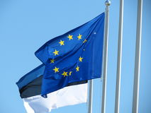 Flag of Europe and flag of Estonia Stock Image