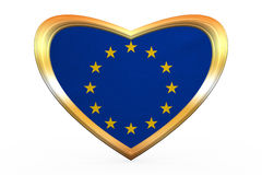 Flag of Europe in heart shape, golden frame Royalty Free Stock Photo