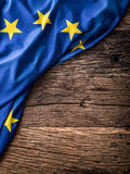 Flag of Europe union on old wooden background. EU flag old oak background.  Royalty Free Stock Photography