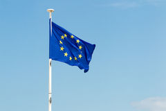 Flag of europe union under blue sky Stock Images