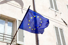 Flag of Europe. Is waving in the wind Stock Photo