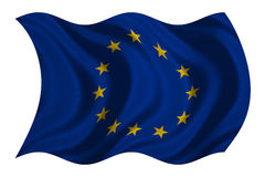 Flag of Europe wavy on white, fabric texture Royalty Free Stock Photo