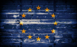 Flag of Europe on Wooden Wall Stock Images