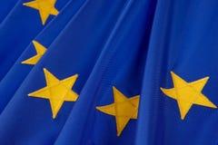 Flag of European Union. Macro shot of European Union flag detailing yellow stars Royalty Free Stock Photography
