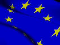 Flag of the European Union. Close-up of the flag of the European Union in waving motion Stock Photo