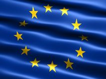 Flag of the European Union. With silky appearance and waves Stock Photography