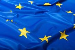Flag of European Union. Detail of Silky Flag of Blue European Union EU Flag Drapery Stock Photos