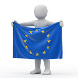 Flag of European Union. Flag of European Union and white personage Royalty Free Stock Photos