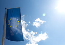 Flag of the European Union against the blue sky Royalty Free Stock Images